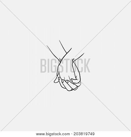 Holding hands with interlocked or intertwined fingers drawn by black lines isolated on white background. Symbol of couple in love, romance, tenderness, dating. Monochrome vector illustration