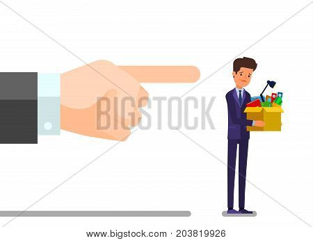 Concept of unemployment, crisis, jobless and employee job reduction. Dismissed frustrated business man holding a box with his things. Flat design, vector illustration. poster