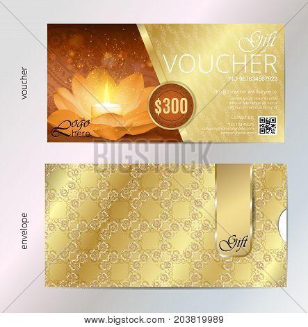Luxury golden and gift voucher for festival of diwali celebration. Vector, Voucher template and envelope design set.