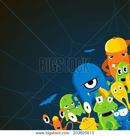 Angry halloween monsters. Cartoon vector background. Colored characters monsters illustration