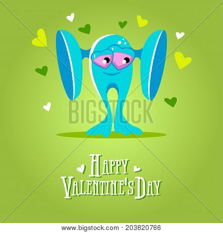 Cartoon blue cool monster in love. Romantic congratulation postcard. St Valentines vector illustration. Love cute monster