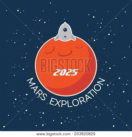 Cartoon poster of Mars planet and landing spaceship. Vector background for Mars mission, exploration, promo events, games or books