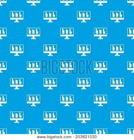 Business graph at computer screen pattern repeat seamless in blue color for any design. Vector geometric illustration