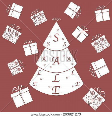 Vector Illustration Of Christmas Tree With Text Sale And Collection Of Presents And Gift Boxes.