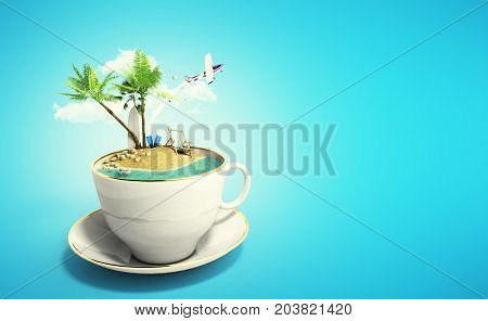 Island In A Cup Of Coffee Concept Of Travel 3D Render On Blue
