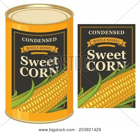 Vector illustration of tin can with a black label for canned sweet corn with the image of realistic corn cob and inscription