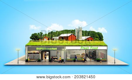 The Concept Of Ecologically Pure Food Showcases Grocery Supermarkets With A Farm On The Roof 3D Rend