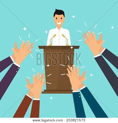 Success in business. Man giving a speech on stage. Human hands clapping. Flat design modern vector illustration concept.