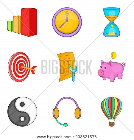 Call center support icon set. Cartoon set of 9 call center support vector icons for web design isolated on white background