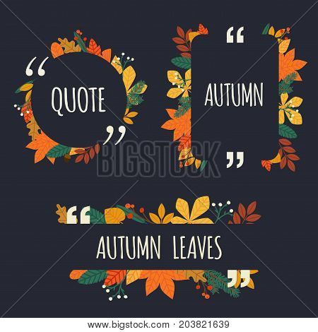 Quote blank template. Autumn design elements with leaves. Paper sheet information text for your design.