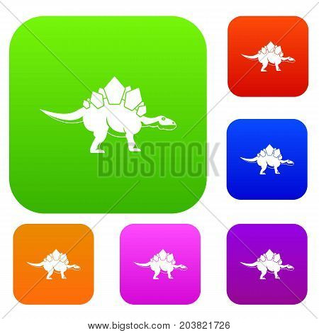 Stegosaurus dinosaur set icon color in flat style isolated on white. Collection sings vector illustration