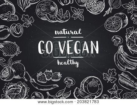 Vector go vegan blackboard background with doodle hand drawn fruits and vegetables. Illustration of vegan food chalkboard
