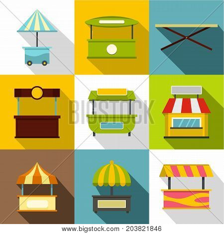 Street stall icon set. Flat style set of 9 street stall vector icons for web design