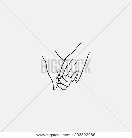 Holding hands drawn by contour lines isolated on white background. Sign of love, friendship, support, romantic relationship, intimacy, togetherness. Vector illustration in monochrome colors