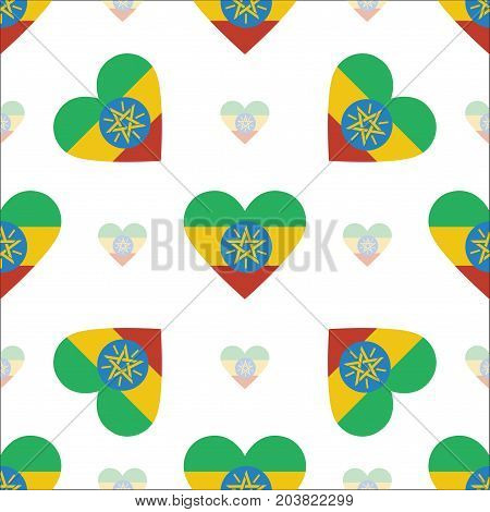 Ethiopia Flag Heart Seamless Pattern. Patriotic Ethiopia Flag Background. Country Flag In The Shape