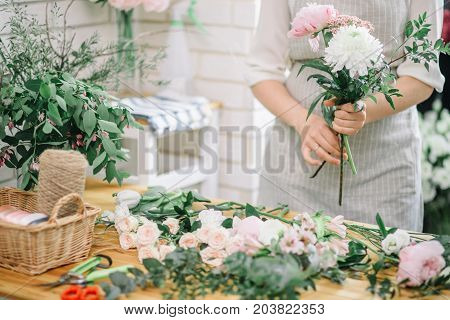 Small Business. Male Florist Unfocused In Flower Shop. Floral Design Studio, Making Decorations And