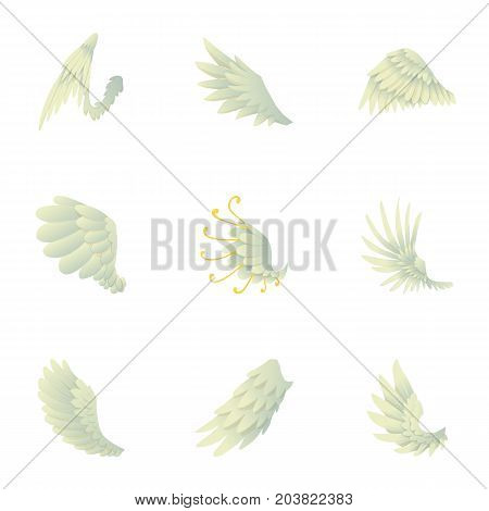Wings of angel icons set. Cartoon set of 9 wings of angel vector icons for web isolated on white background