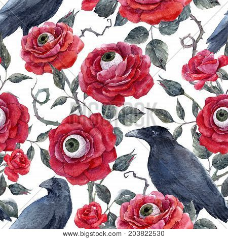 Beautiful halloween seamless pattern with watercolor red roses human eyes and raven