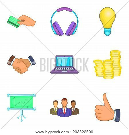 Business client support icon set. Cartoon set of 9 business client support vector icons for web design isolated on white background