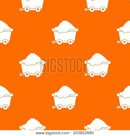 Cart on wheels with coal pattern repeat seamless in orange color for any design. Vector geometric illustration