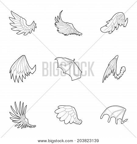 Wings icons set. Outline set of 9 wings vector icons for web isolated on white background