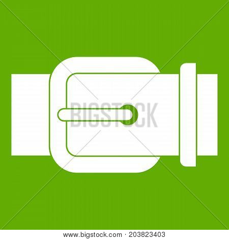 Elegant leather trousers belt icon white isolated on green background. Vector illustration