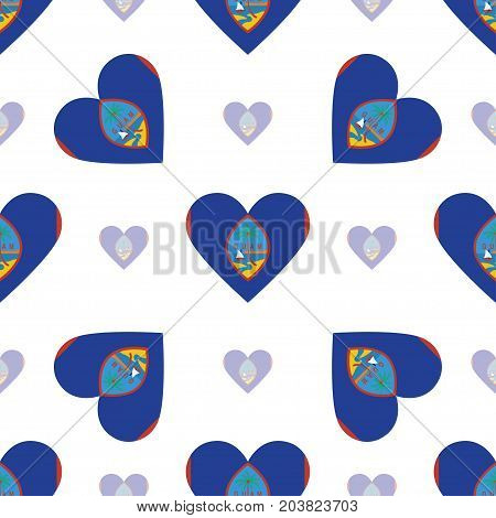 Guam Flag Patriotic Seamless Pattern. National Flag In The Shape Of Heart. Vector Illustration.