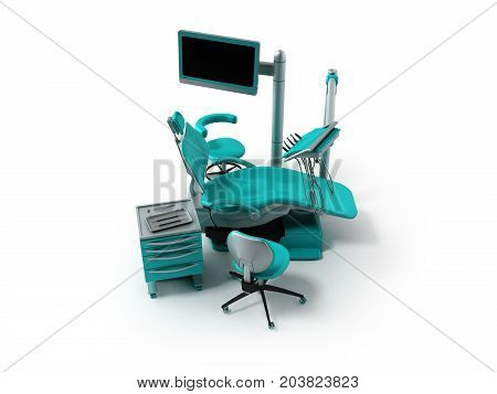 Concept Of The Dental Chair Blue With Instruments With A Bedside Table And Chairs 3D Rendering On A