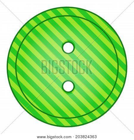 Green cloth button icon. Cartoon illustration of green cloth button vector icon for web