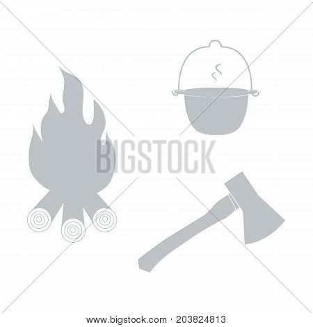 Stylized Icon Tourism And Outdoor Recreation: Colored Pot, Fire And Ax