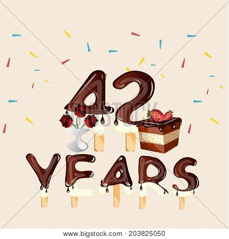 42 years Happy Birthday card. Vector illustration