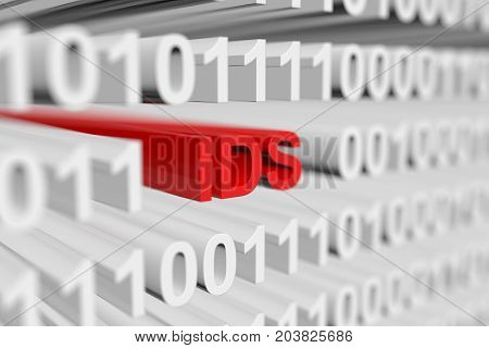 IDS in the form of a binary code with blurred background 3D illustration