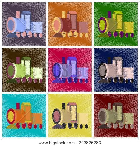 assembly flat shading style icons Toy train