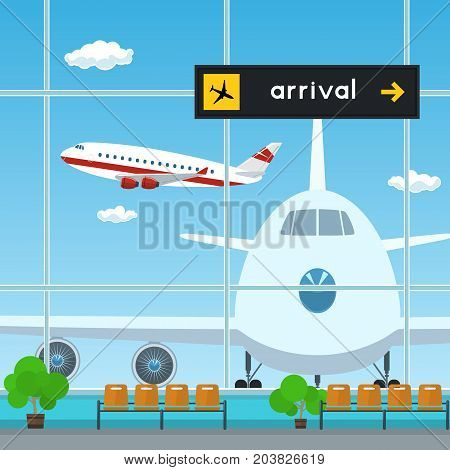 Waiting Room and Scoreboard Arrivals at the Airport View on Airplanes through the Window from a Waiting Room Travel Concept Flat Design Vector Illustration