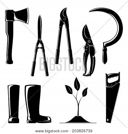 Silhouette of Agricultural Tools Set of Garden and Landscaping Tools Pruning Shear with Loppers Sickle with Working Rubber Boots and Sprout Axe and Rip Saw Gardening Equipment Vector