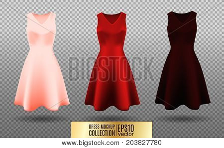 Women's dress mockup collection. Dress with medium pleated skirt. Realistic vector illustration. Festive dress without sleeves. Pink red and vinous variation.