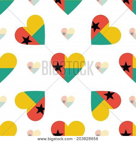 Guinea-bissau Flag Patriotic Seamless Pattern. National Flag In The Shape Of Heart. Vector Illustrat