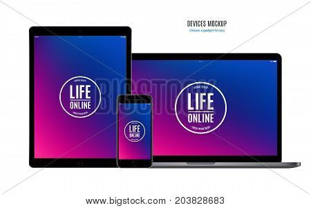 mockup devices: smartphone tablet and laptop with multicolor screen isolated on white background. stock vector illustration eps10