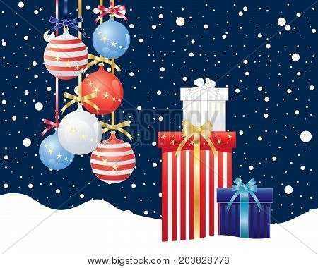 an illustration of of an american christmas greeting card with decorations and wrapped gifts in the colors red white and blue on a snowy background
