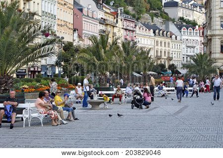 KARLOVY VARY,  CZECH REPUBLIC - AUGUST 14: World Spa with many healing springs. The spa guests and many tourists resting in the center of the city Carlsbad Czech Republic on August14 2017