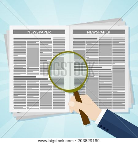 Hand holding a magnifying glass on Business news newspaper. Vector illustration.