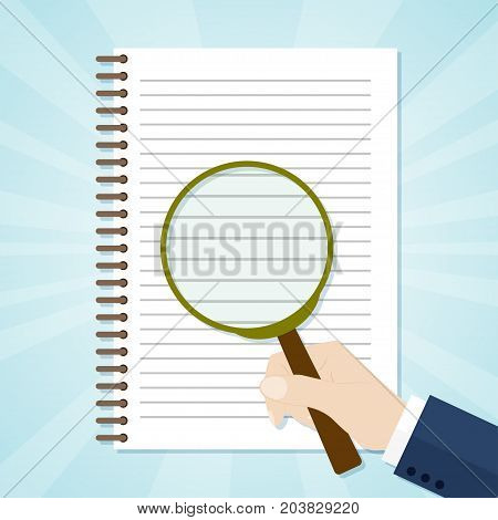Spiral opened notepad with loupe. Top view. Vector illustration
