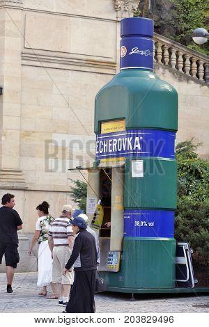 KARLOVY VARY, CZECH REPUBLIC - AUGUST 14: A Becherovka Kiosk. Becherovka is a traditional herbal bitters liquer originated in Karlovy Vary Czech Republic on August 14 2017