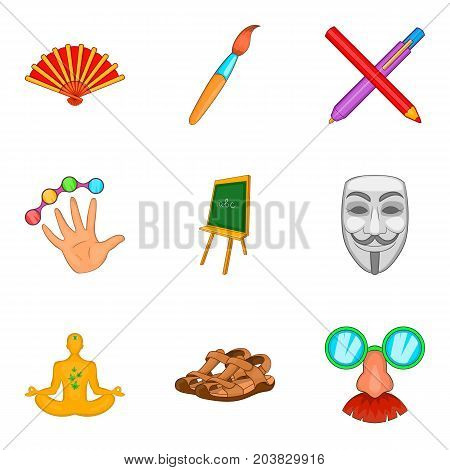 Artwork icons set. Cartoon set of 9 artwork vector icons for web isolated on white background
