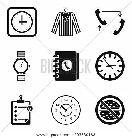 Clock type icon set. Simple set of 9 clock type vector icons for web design isolated on white background
