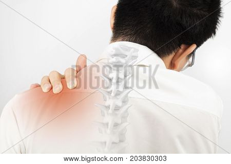 shoulder bone injury white background shoulder pain