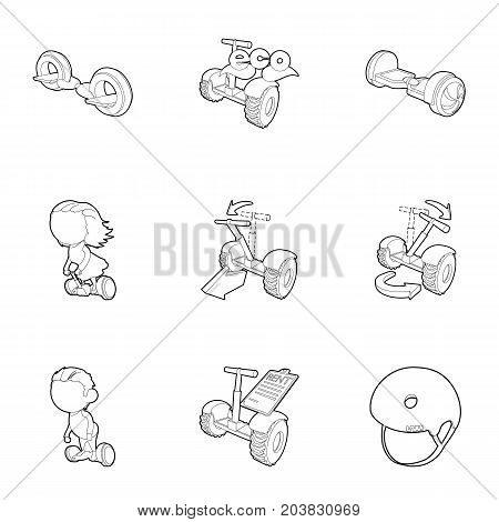 Balancing scooter icons set. Outline set of 9 balancing scooter vector icons for web isolated on white background