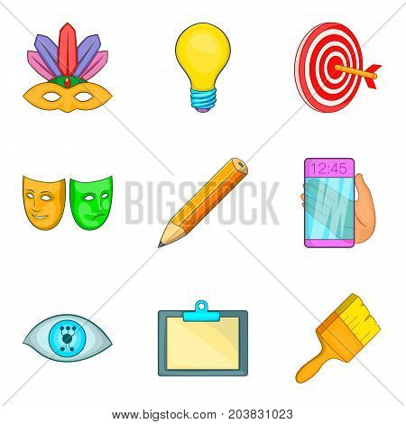 Creation icons set. Cartoon set of 9 creation vector icons for web isolated on white background