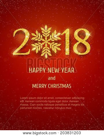 2018 Happy New Year and Merry Christmas Holiday Background with golden glitter numbers on red background. Vector seasonal  design for your flyer banner and greeting cards