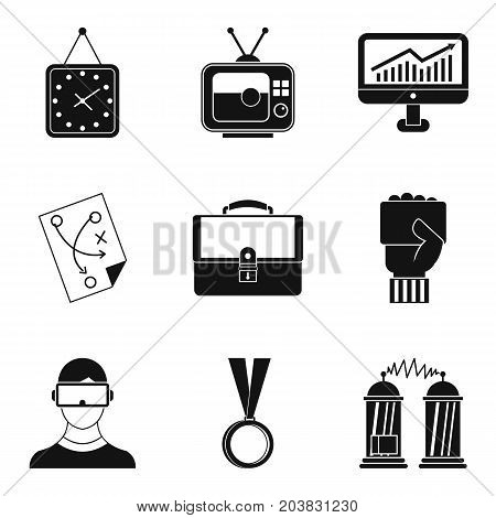Free time activities icon set. Simple set of 9 free time activities vector icons for web design isolated on white background